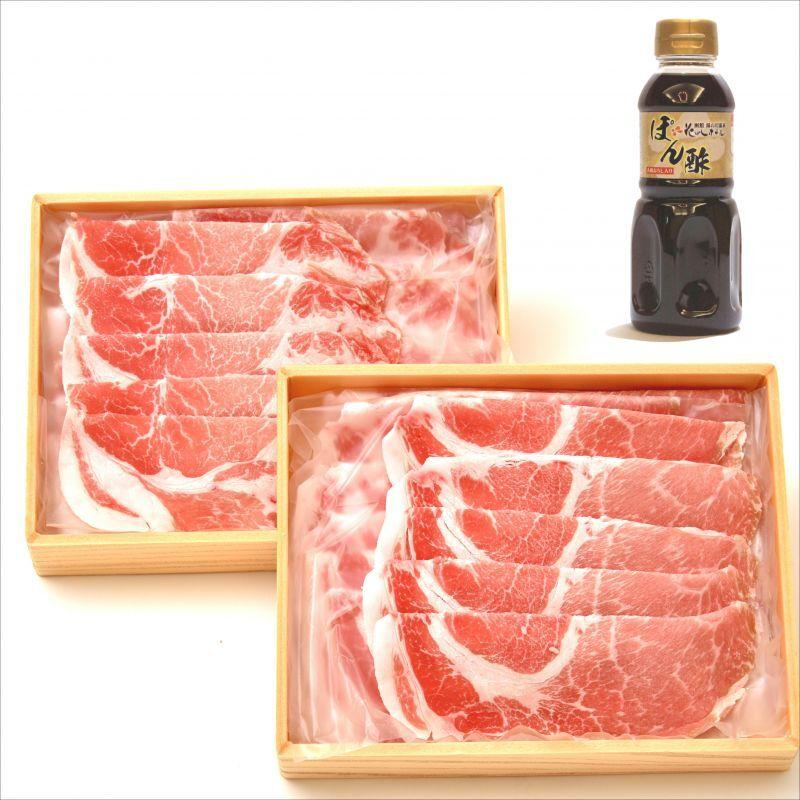 画像1: 全国送料無料!北海道産フルーツポーク豚しゃぶ花びしぽん酢付 (1)